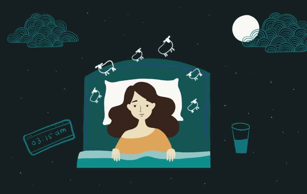 A girl sleeping on bed suffering from sleep deprivation. Illustration