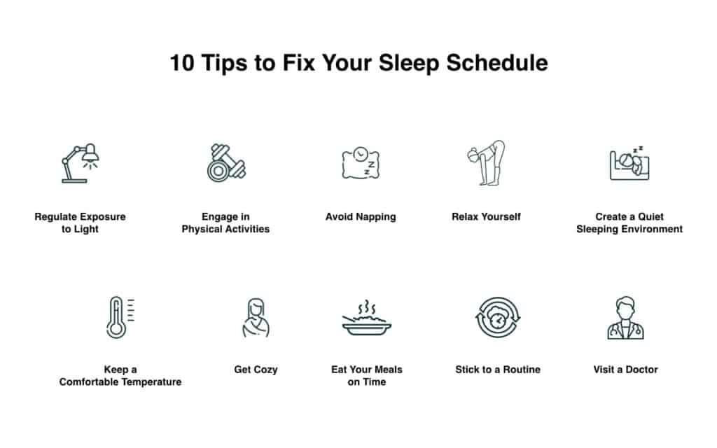 Tips on how to fix the sleep schedule. Illustration
